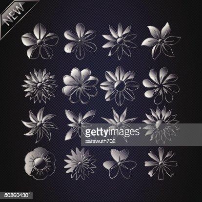 Conjunto de vectores de flores. : Arte vectorial