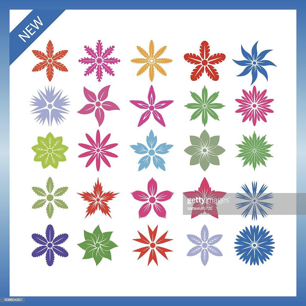 Conjunto de vetores de flores. : Arte vetorial