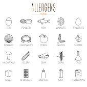 Set of vector food allergens symbols information. Peanuts, lactose, crustacean, lactose