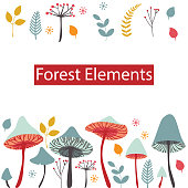 Set of vector forest elements. Mushrooms, berries, leaves and herbs isolated on white background. Cartoon illustration in flat style.