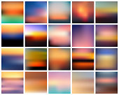 Set of vector gradient sunset. Beautiful colorful abstract sunrise background