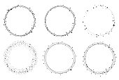 Set of vector graphic circle frames. Wreaths for design,  template. Stardust, stars, starry sky.