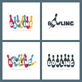 Set of vector hand drawn bowling icons and emblems. Doodle colorful lettering. Bowling ball and bowling pins symbol. Trendy design for bowling center, tournament or championship.