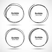 Set of vector hand drawn circles using sketch drawing scribble circle lines. Doodle circular logo design elements.