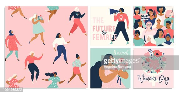 Set of vector illustration. 8 march, International Women's Day. Vector template with lettering design. : stock vector