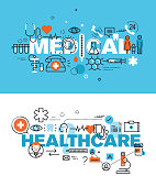 Set of modern vector illustration concepts of words medical and healthcare. Thin line flat design banners for website and mobile website, easy to use and highly customizable.