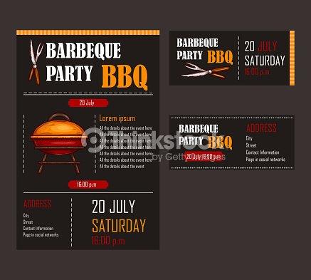 Set of vector illustrations of a bbq menu template invitation card set of vector illustrations of a bbq menu template invitation card on a barbecue maxwellsz