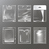 Set of vector illustrations of transparent plastic empty bags, packaging, isolated on a transparent background. Mock up template, layout for branded design