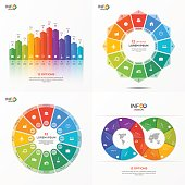 Set of vector infographic 12 options templates for presentations, advertising, layouts, annual reports. The elements can be easily adjusted, transformed, added, deleted and the colour can be changed.