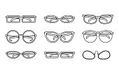 Glasses Icons Set. Collection of Different Glasses Types.
