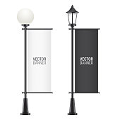 Set of vector lamposts, with black and white advertising flags, isolated on a white backgorund. Vertical promotional flag realistic mockups.