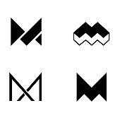 Set of vector logo design template. M letter logo