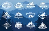 Set of vector mountain and outdoor adventures labels on mountain landscape background. Tourism, hiking and camping labels. Mountains and travel icons for tourism organizations, outdoor events and camp