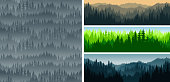 :set of vector mountains forest woodland background texture seamless pattern