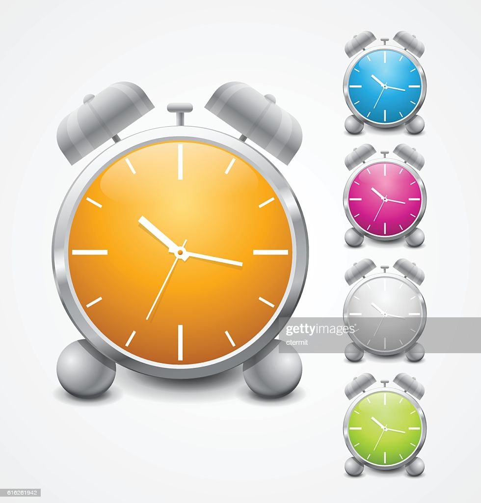 set of vector multicolored shiny alarm clock icon design : Vector Art