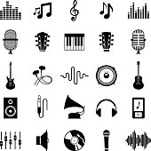 Set of vector music icons. Music icons for audio store, recording studio label, podcast and radio station, branding and identity.