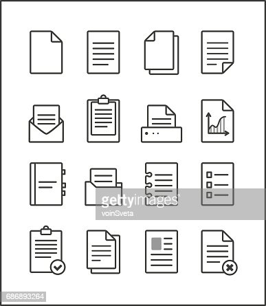 Set of vector outline file management icons : stock vector