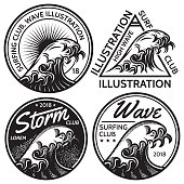 set of vector patterns for design on the theme of water, surfing, ocean, sea