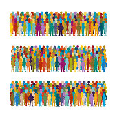 Set of vector people groups arranged in a row in flat style