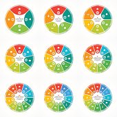 Set of vector pie chart circle infographic templates with 4-12 options