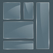 Set of vector realistic glossy rectangular shape glass frames on transparent background. Square glass elements for banner design, advertising, web, app