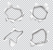 Set of vector realistic holes torn in white paper isolated on transparent background.