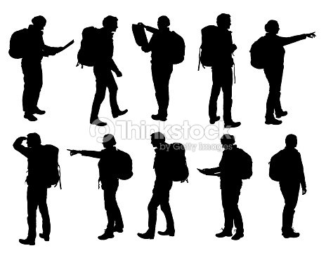 Set of vector realistic silhouettes of man and woman standing, walking and showing hand and map and backpack in different poses - isolated on white background : stock vector