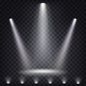 Set of vector scenic spotlights on a dark background