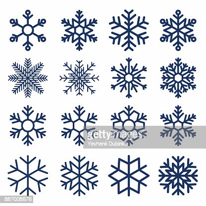 Set of vector snowflakes. Snowflake texture for decoration. Geometric snow symbol : Vector Art