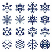 Set of vector snowflakes. Snowflake texture for decoration. Geometric snow symbol in line art style