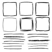 Set of vector square frames and pencil textured lines. Hand drawn isolated doodles.