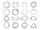 Set of black stamps. Vector illustration and clip art