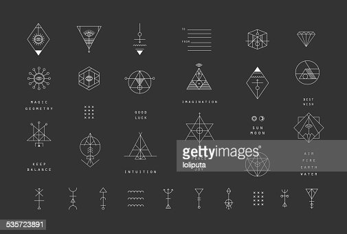 Set of vector trendy geometric icons. Alchemy symbols collection. : stock vector