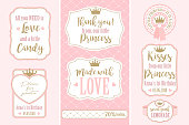 Candy wrappers, stickers, labels for little princess sweet table. Golden crown and pink