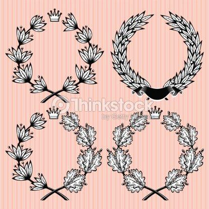 set of vector wreath of laurel and oak leaves vector art thinkstock
