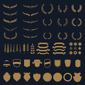 Set of gold vector wreaths and branches. Design element for label, emblem, sign, badge. Vector illustration.