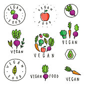 Set of vegan food badges. Different vegetables. Vector hand drawn signs