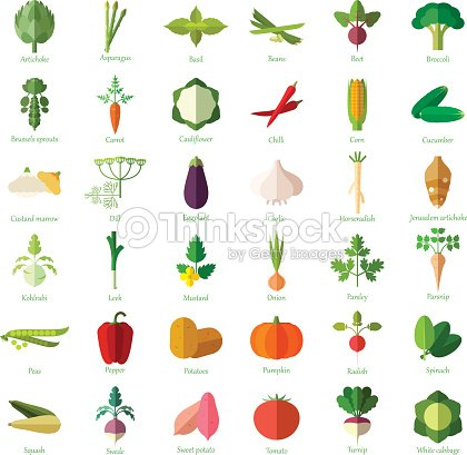 Set of vegetable flat icons : stock vector