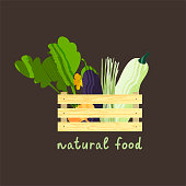 Set of vegetables in wooden box. Vector illustration of healthy food design on the topic of vegetarianism and farm fair. Vegan menu