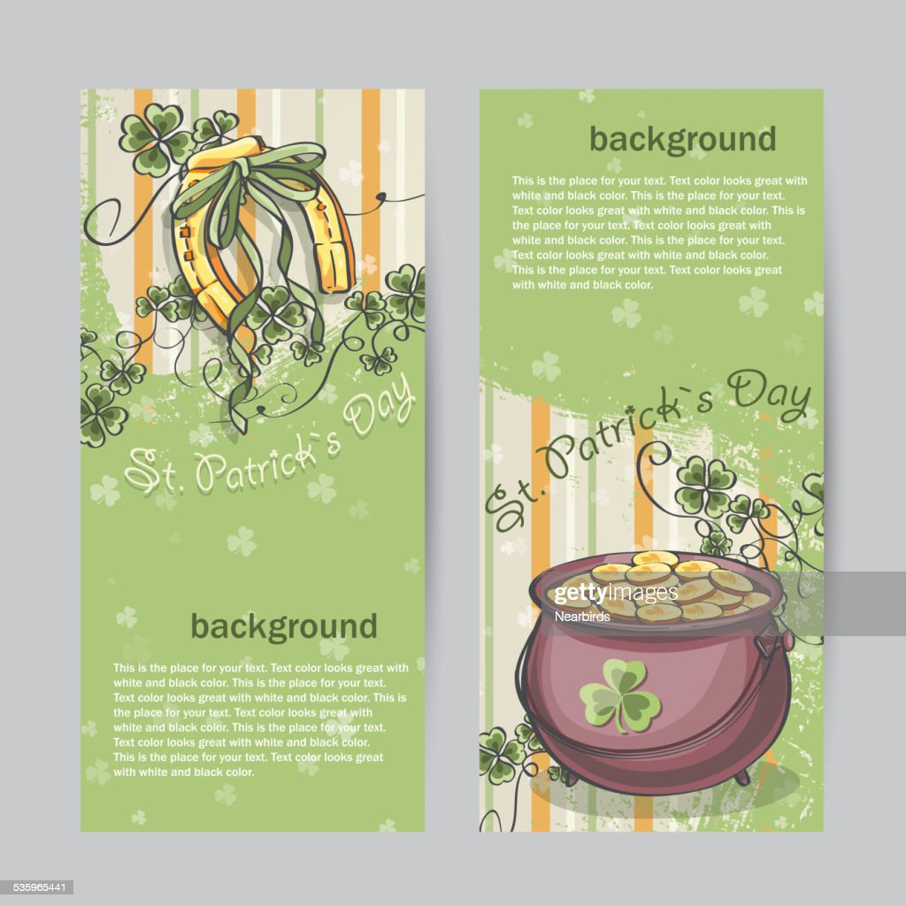 Set of vertical banners for St. Patrick's Day with : Vector Art
