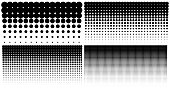Set of vertical gradient halftone dots backgrounds, horizontal templates using halftone dots pattern. Vector illustration.
