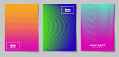 Set of vertical abstract backgrounds with halftone pattern in neon colors. Collection of gradient textures with geometric ornament. Design template of flyer, banner, cover, poster in A4 size. Vector