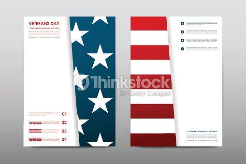 set of veterans day brochure poster templates in usa flag vector art