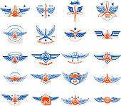 Set of vintage airplane emblems. Design elements for label, sign, menu. Vector illustration