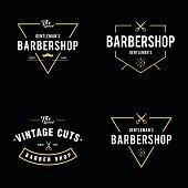 an amazing illustration Set of vintage barber shop badges and labels design elements
