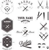 Set of vintage barber shop labels, badges and design elements.