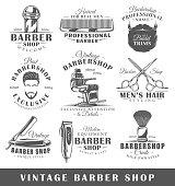 Set of vintage barbershop labels. Templates for the design of logos and emblems. Collection of barbershop symbols: clipper, pole, scissors. Vector illustration