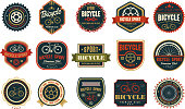 Collection of vintage bicycle logos. Extreme cycling sport. Stylish typographic design for biking club, bike shop or repair service. Original vector emblems. Illustration isolated on white background.