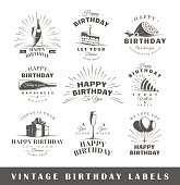Set of birthday labels. Elements for design on the birthday theme. Collection of birthday symbols: cake, hat, balloons. Modern labels of birthday. Vector illustration