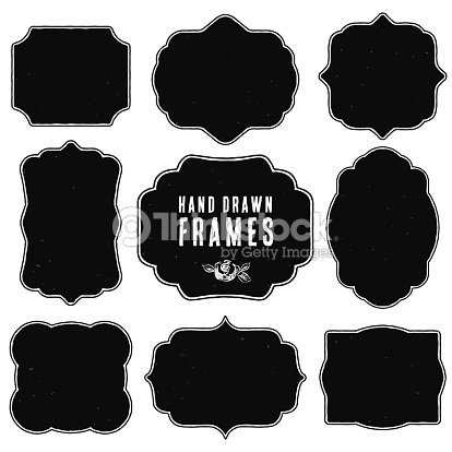 Set Of Vintage Blank Frames And Labels Vector Art Thinkstock